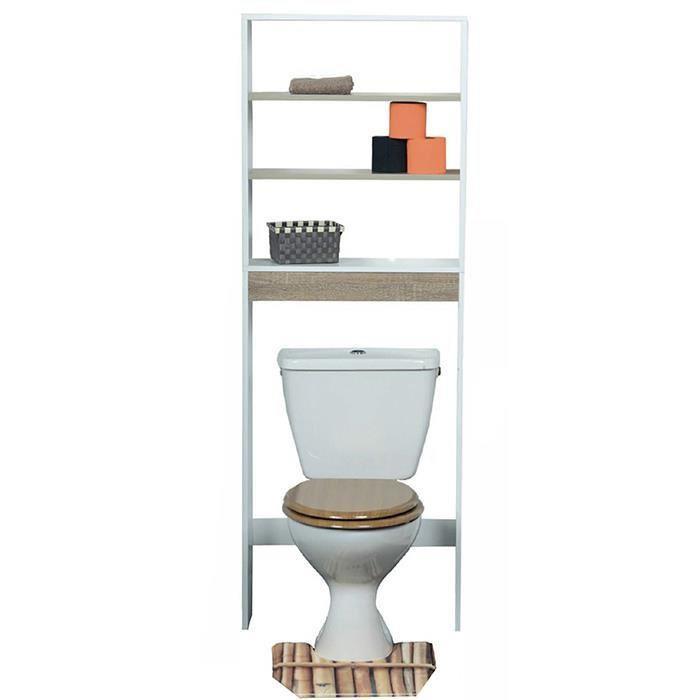 Meuble étagère dessus wc en bois coloris gris