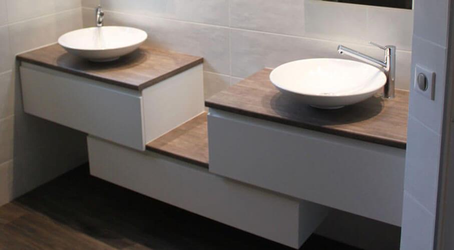 Meuble d\'angle salle de bain double vasque - Boutique-gain-de-place.fr