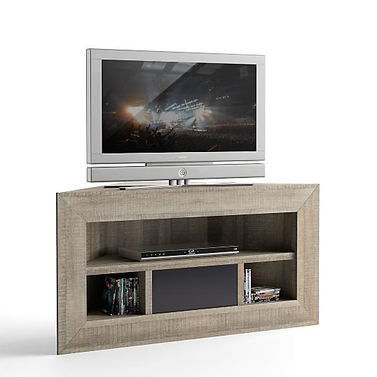 Meuble tv d 39 angle chene gris boutique gain de - Meuble tv gain de place ...