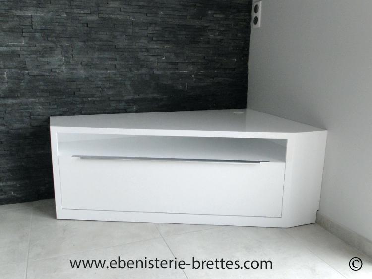 Meuble D Angle Blanc Tv Boutique Gain De Place Fr