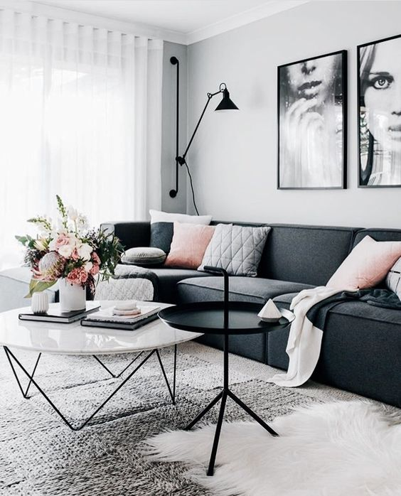 Superieur Salon Scandinave Rose Et Gris