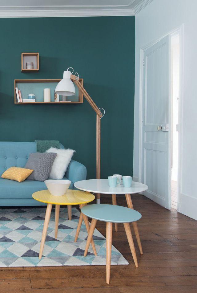 Peinture salon bleu scandinave - Boutique-gain-de-place.fr