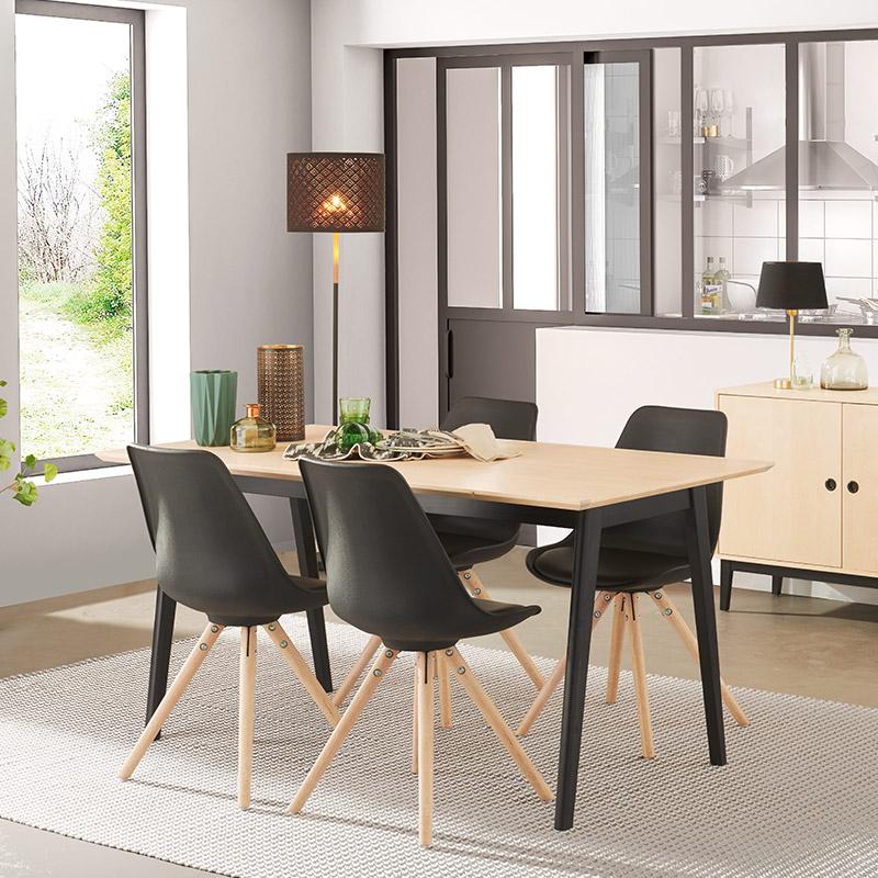 chaise scandinave noir et table boutique gain de. Black Bedroom Furniture Sets. Home Design Ideas