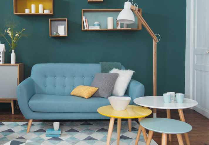 Salon style scandinave bleu et jaune - Boutique-gain-de-place.fr
