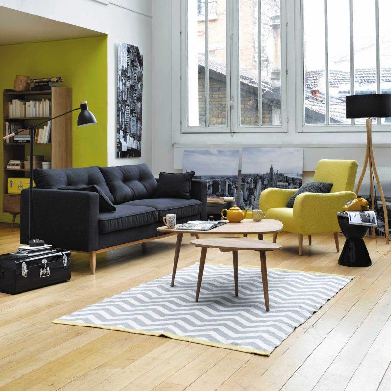 deco salon scandinave gris jaune boutique gain de. Black Bedroom Furniture Sets. Home Design Ideas