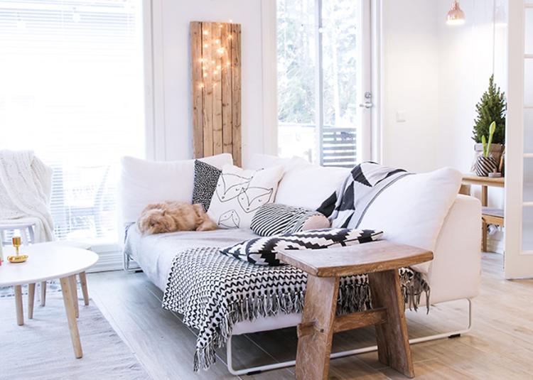 Salon scandinave bois et blanc - Boutique-gain-de-place.fr