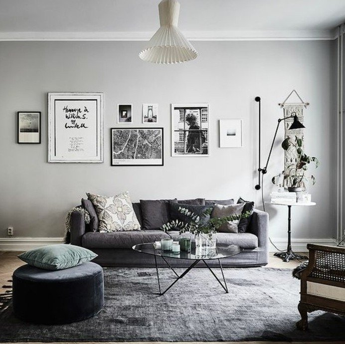 Deco scandinave salon gris et jaune - Boutique-gain-de-place.fr