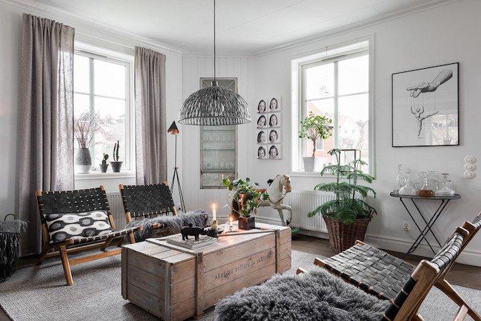 deco rideau salon scandinave boutique gain de. Black Bedroom Furniture Sets. Home Design Ideas