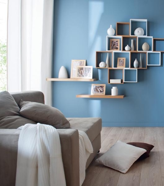Salon style scandinave bleu - Boutique-gain-de-place.fr