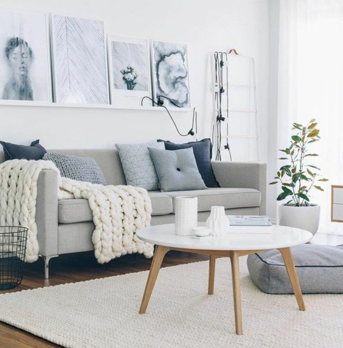 Salon scandinave blanc et gris - Boutique-gain-de-place.fr