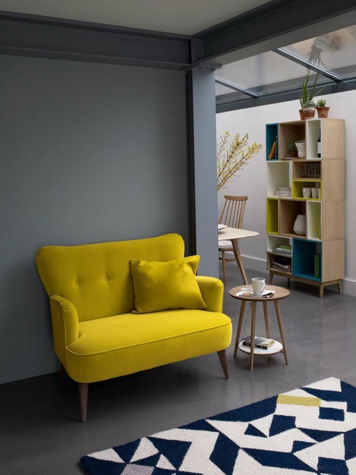 Salon scandinave jaune moutarde -