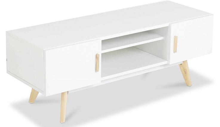 Meuble tv scandinave blanc bois boutique gain de - Meuble tv gain de place ...