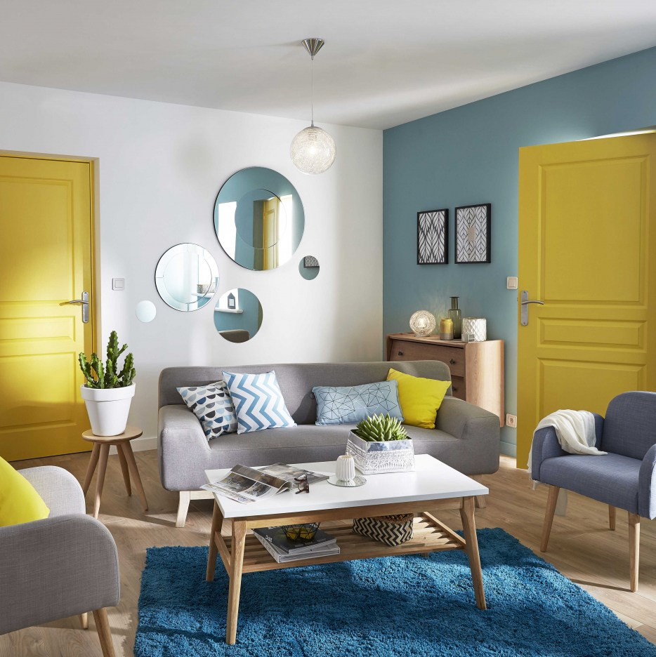 Charmant Salon Bleu Style Scandinave