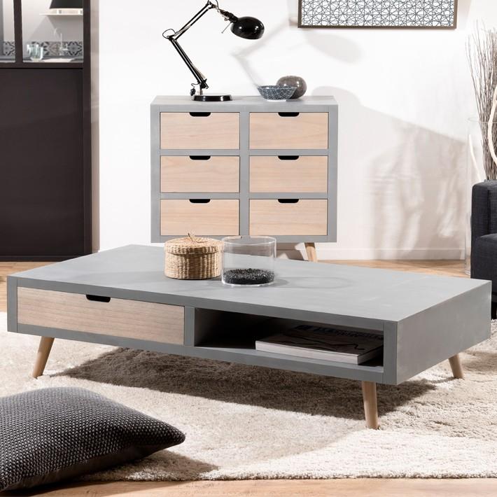 Table scandinave effet beton