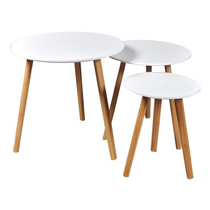 Table gigogne scandinave bois