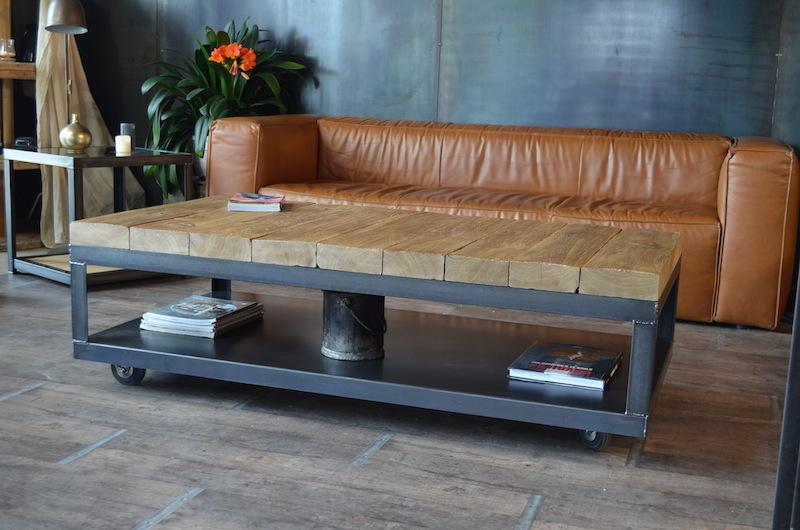Table basse en bois massif palissandre avec rangement de bouteille à vin domus - Boutique-gain ...