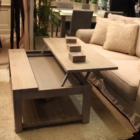 Table Basse Laqué Blanc Avec Plateau Relevable Boutique Gain De