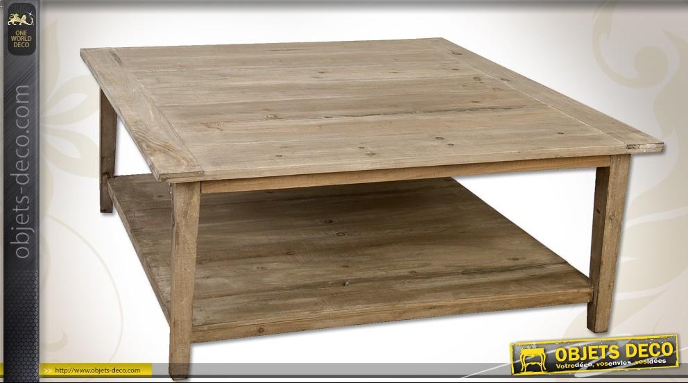 Table basse carrée 2 plateaux bois