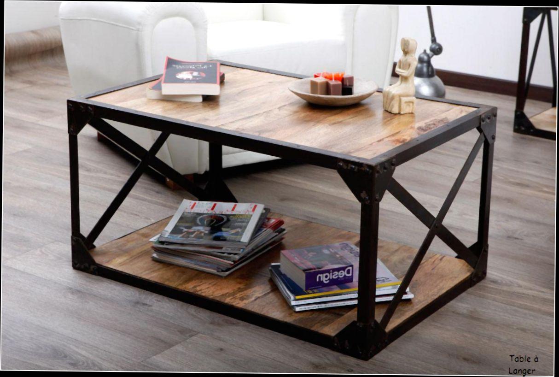 Table Basse Industrielle Pas Cher.Table Basse Bois Avec Pouf Pas Cher Boutique Gain De Place Fr