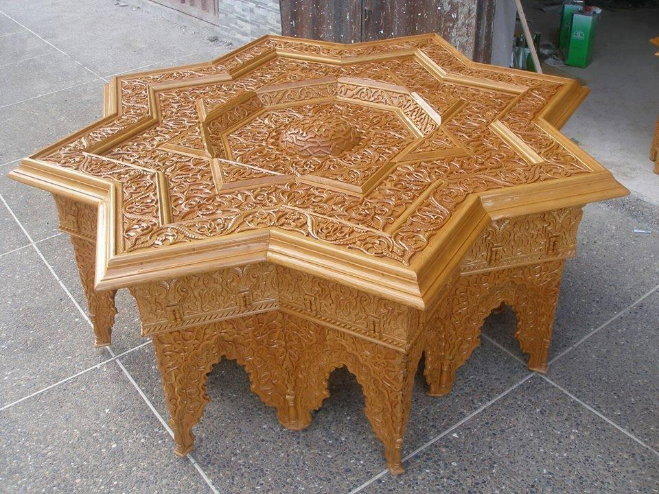 Table basse marocaine en bois - Boutique-gain-de-place.fr
