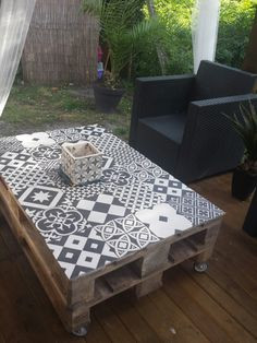 Table Basse Palette Carreaux Ciment Boutique Gain De Place Fr