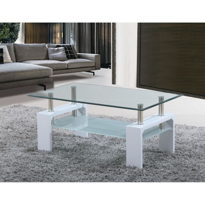 Table Basse En Verre Blanc Laque Boutique Gain De Place Fr