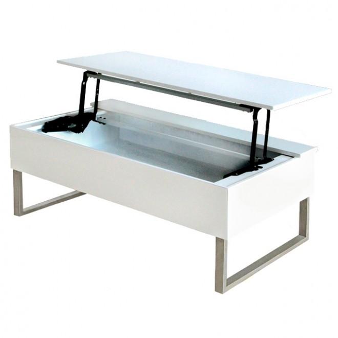 Blanche Plateau Table Avec Relevable Basse Boutique Gain De m0nwOvN8