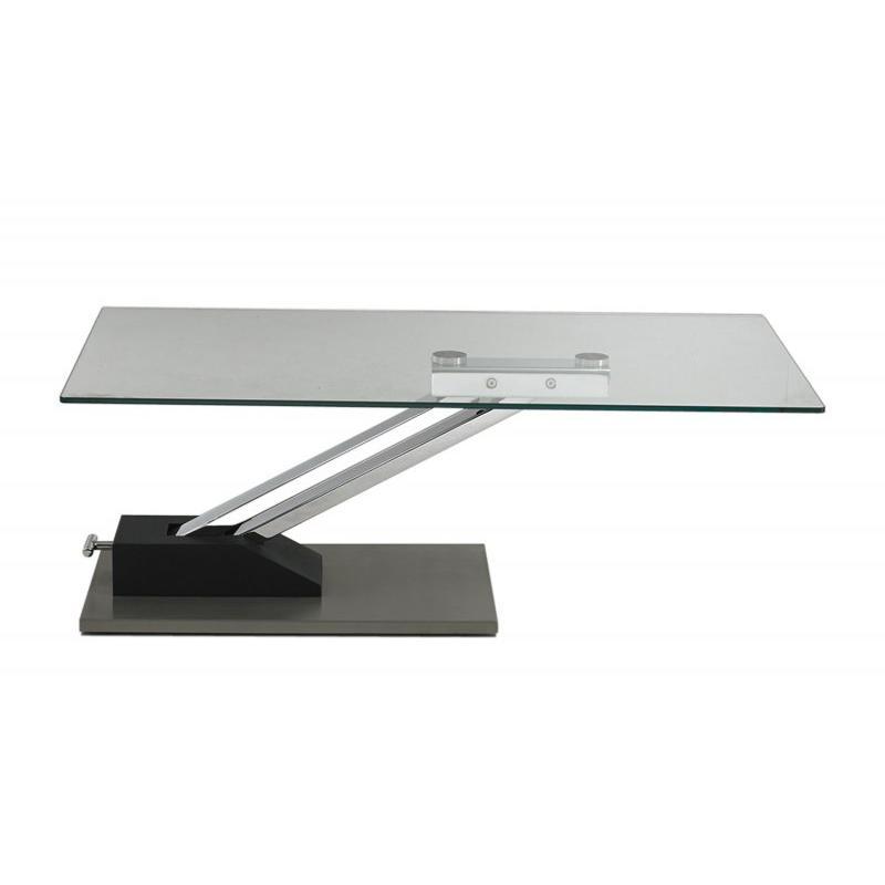 Table basse relevable avec pied central