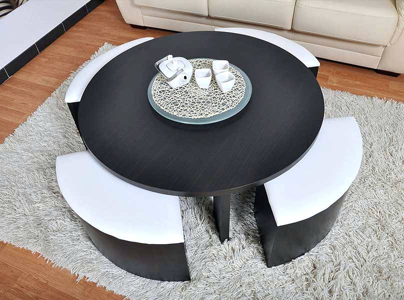 Table Basse Ronde Avec Pouf.Table Basse Ronde Avec Pouf Integre Boutique Gain De Place Fr