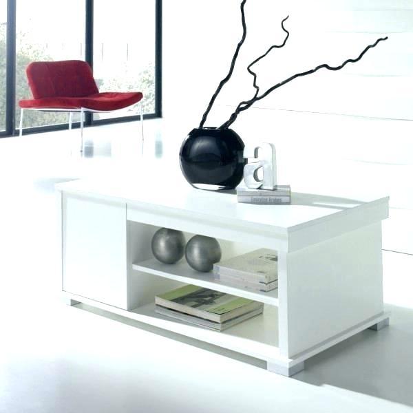 Table basse blanche avec rangement bouteille - Boutique-gain-de-place.fr