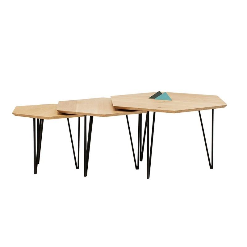 Table Basse Hexagonale En Bois Boutique Gain De Place Fr