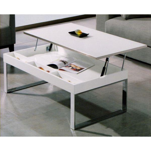 Table Basse Blanche Avec Tablette Relevable Boutique Gain De Place Fr