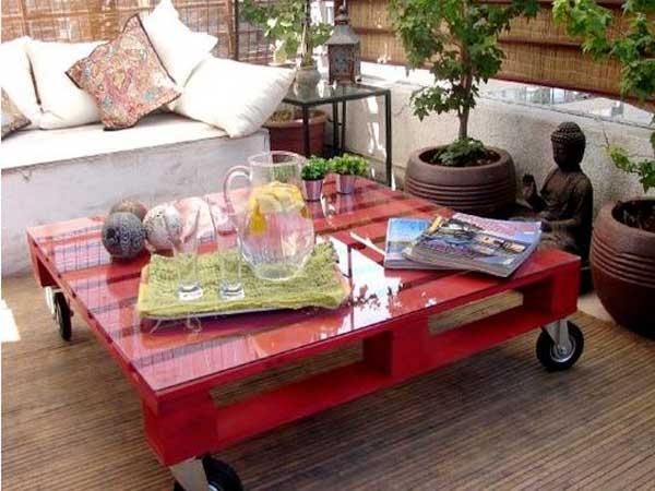 Table basse palette de peintre - Boutique-gain-de-place.fr