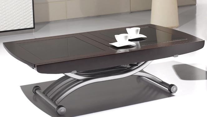 Table Basse Relevable En Verre Noire Avec Rallonge