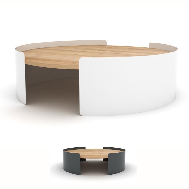 Table basse blanche bois et metal - Boutique-gain-de-place.fr