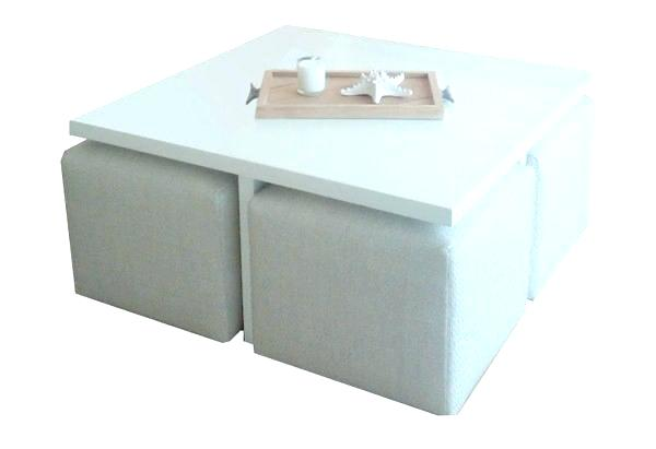 Table basse avec poufs encastrables - Boutique-gain-de-place.fr