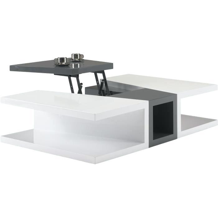Table Basse Relevable Laque Blanc Lotus 01 Boutique Gain