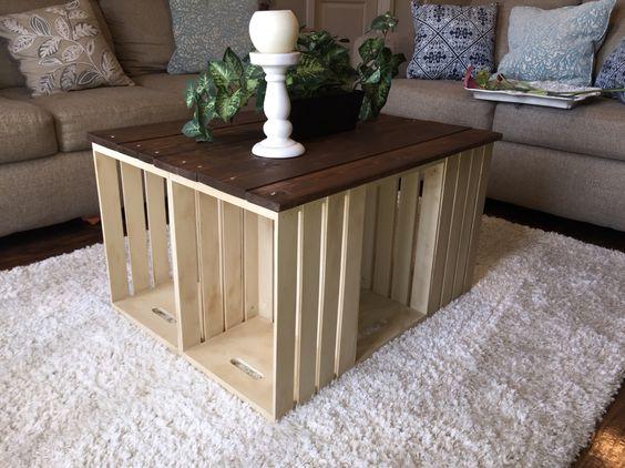 Table basse maison caisse en bois
